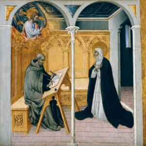 Caterina da Siena beim Diktat ihres theologischen Hauptwerks, des Dialogo.