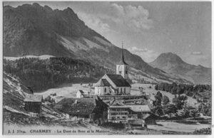 Blancs Heimatort Charmey auf einer Ansichtskarte um 1900.