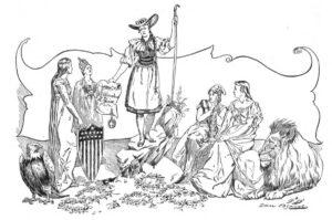 Die Schweizerin (auf dem Stein stehend und in Tracht gekleidet) empfiehlt das Referendum ihren Schwestern USA, Deutschland, Frankreich und Britannien (v.l.n.r). Zeichnung im Cosmopolitan Magazine, Nr. XV/3 (Juli 1893).