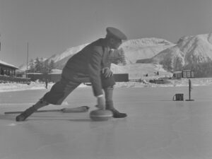Curling in the Grisons, about 1940.