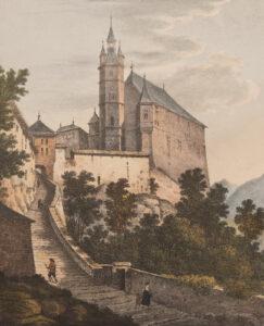 L'Hôtel de Ville et la plateforme en pente raide surplombant la Sarine. Gravure de 1822.