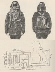 L'appareil respiratoire développé par Guglielminetti, vers 1904.