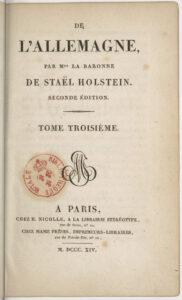 De l'Allemagne, 1814.