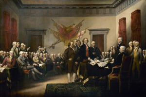 The Declaration of Independence of 4 July 1776, depicted in the painting by John Trumbull (1756-1843), 1819. The painting is 5.5 m wide and now hangs in the Capitol.