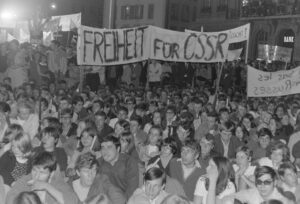 After the Soviet Union invaded Czechoslovakia, thousands took to the streets, as here in Bern.