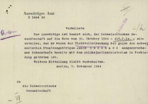 Deutsches Schreiben an die Schweizerische Gesandtschaft, November 1944.