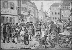 «Schwabenkinder» in Ravensburg. Auf dem grossen Ravensburger Markt wurden auch Bündner Kinder gehandelt und an Bauern verdingt.