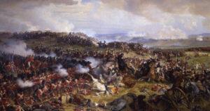 Die Schlacht von Waterloo: Die Briten erwarten den Angriff der französischen Kürassiere, gemalt von Félix Henri Emmanuel Philippoteaux, 1874.
