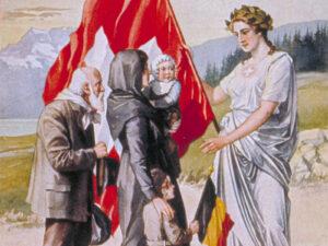 «La Suisse accueille sa soeur neutre La Belgique», Carte postale colorée de 1914-1918.