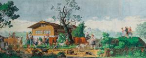 Antoine-Pierre Mongin (1761-1827), papier peint Petite Helvétie de la Haus zum Sternen à Zurich, fabriqué à la manufacture Zuber Jean & Cie, Rixheim.