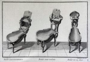 Trois esquisses dessinées par Jean-Charles Delafosse, Paris vers 1770.