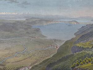 Panorama du lac de Bienne, du lac de Morat et du lac de Neuchâtel, vers 1825.