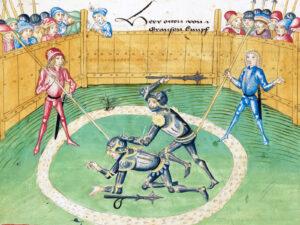 Duell zwischen Otto von Grandson und Gerhard von Stäffis, Darstellung um 1483 in der Amtlichen Berner Chronik von Diebold Schilling.