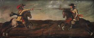 Duel à cheval entre Heinrich Im Thurn et Christoph Ziegler, anonyme, vers 1660.