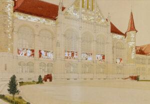 Entwurf für ein Mosaik an der Hofseite des Schweizerischen Landesmuseums, um 1903. Bleistift, Wasserfarben und Ölfarben auf Papier.