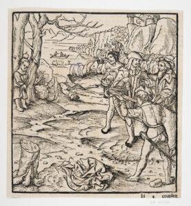 Première représentation gravée du tir sur la pomme, bois, 1507.