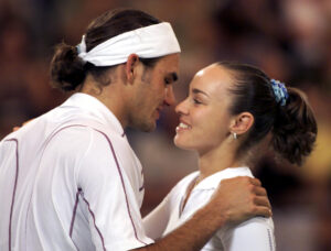 No, they weren't flirting. Roger Federer and Martina Hingis at the Hopman Cup in Perth, 2001.