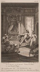 """Scénographie pour """"Figaro"""" de Beaumarchais, vers 1785."""