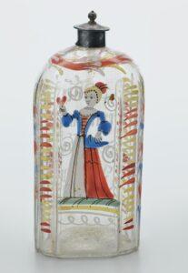Farblose Flasche mit bunter Emailbemalung, 2. Hälfte 18. Jahrhundert, Schwarzwald.