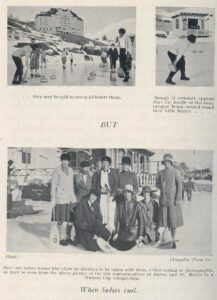 'When ladies curl': Photographic report on female tourists playing curling in Arthur Noel Mobbs' 1929 volume 'Curling in Switzerland'.