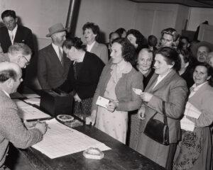 Kantonale Abstimmung mit Frauen in Lausanne, 1959.