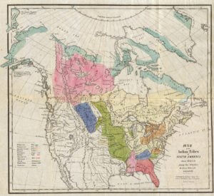 Gallatins Karte der Einflussbereiche von Nordamerikanischen Ureinwohnerstämmen um 1600.