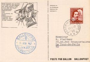 Carte postale représentant les frères Tschann, 1957.