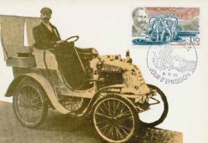 Ausgabe einer Gedenkbriefmarke zum 75-jährigen Jubiläum der ersten Strassenteerung in Monaco, 1977.