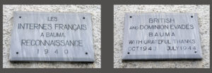 At the Reformed Church in Bauma, two plaques commemorate the presence of French and British soldiers in 1940 and 1944/45 respectively.