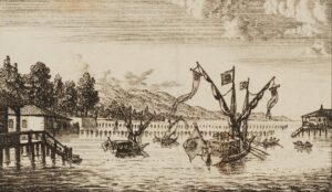 The port of Geneva in an illustration dating from the late 18th century.