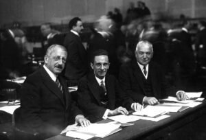 Reich Propaganda Minister Joseph Goebbels (centre) in Geneva in 1933 at the World Disarmament Conference, which took place under the aegis of the League of Nations.