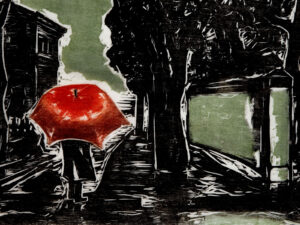 Chuva (rain), xylograph by Oswaldo Goeldi, 1953.