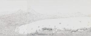Le golfe de Naples, lithographie d'après un dessin de Georg Friedrich Heilmann, 1841.