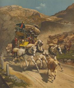 Photochrom-Bilder eigneten sich auch für die Reproduktion von berühmten Gemälden wie hier der Gotthardpost von Rudolf Koller aus dem Jahr 1873.
