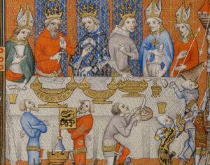 Zwischengänge mit Schauspielspektakel, 14. Jahrhundert.