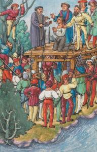 Exécution de Hans Waldmann comme illustré dans la Chronique de Lucerne de Diebold Schilling, 1513.