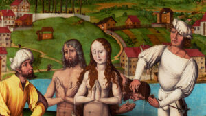 Multi-panel altarpiece featuring Felix and Regula in front of a Zurich city view, detail with Lindenhof and Schipfe areas