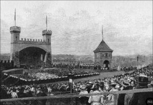 Holzsschnitt zur 700-Jahr-Feier der Gründung der Stadt Bern, 1891.