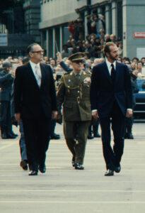 Hans Hürlimann (left) during the state visit of King Juan Carlos in 1979.