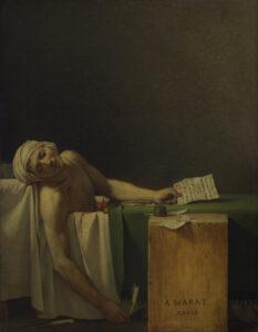 Der ermordete Marat im bekannten Gemälde von Jacques-Louis David (1748-1825).