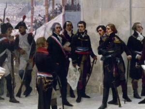 Jean-Nicolas Pache (Zweiter von links, zum Betrachter schauend) am Föderationsfest vom 14. Juli 1790, gemalt von Henri Gervex 1889 (Ausschnitt).