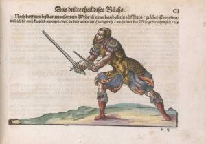 Kolorierte Seite aus Meyers Lehrbuch. Strassburg, 1570.