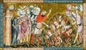 Die Pest setzt das Grausamste im Menschen frei: 1349 werden in Tournai unschuldige Juden als Sündenböcke verbrannt, und die Vertreter der höheren Schichten schauen zufrieden zu.