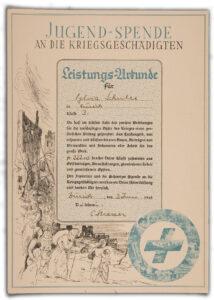 Attestation d'un don versé par des jeunes à des victimes de guerre, 3 juin 1945 La classe de 3e de Syvia Schuler, à Zurich, avait fait un don de 222,10 francs.