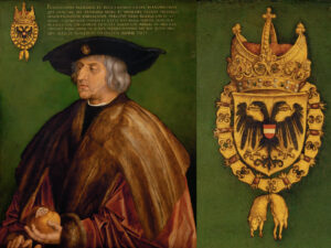 Emperor Maximilian I, 1519, painted by Albrecht Dürer. On the right, the enlarged coat of arms.