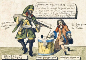 Protestant depiction of the conflict between the King's troops and the Huguenots, 1686.