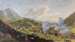 Kolorierte Kampfszene, um 1820, aufgemalt von unbekannter Hand