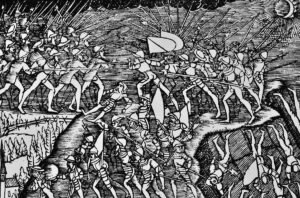 Depiction of the Second War of Kappel in Johannes Stumpf's Schweizerchronik (Swiss Chronicle), 1548.