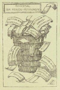 Caricature sur les pétitions des femmes dans : « Xanthippe, Organ der Stimmlosen », Zurich, 1910.