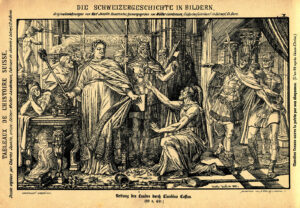 «Rettung des Landes durch Claudius Cossus». Druck von Karl Jauslin (1842-1904) von 1885.